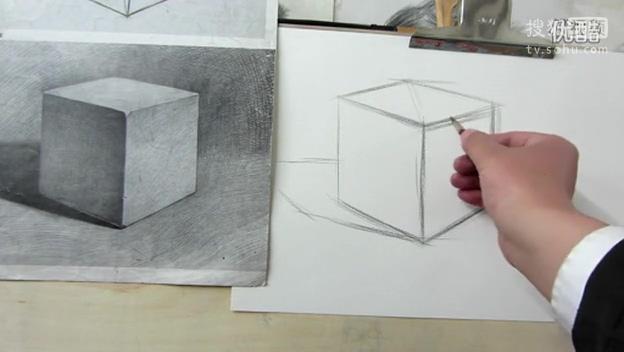 美术培训中心之素描基础知识教学石膏几何体正方体